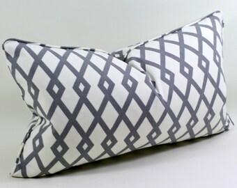 Robert Allen Graphic Fret in Greystone Pillow Cover, Cushion Cover, Decorative Pillow, Lumbar Pillow