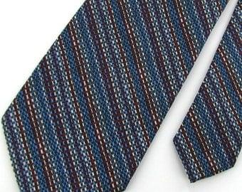 Vintage Necktie Wemlon Wembley Texture 60's 70's Stripe Black Red Men's Neck Tie V1-20