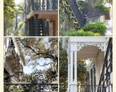 """Scenes from Savannah, Ga. - """"Southern Iron"""" Poster featuring 4 Images of Savannah's Hist. Dist.by Melissa Schneider"""