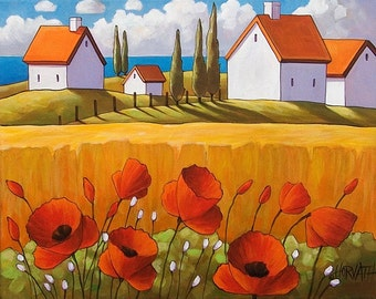 """Fine Art Print by Cathy Horvath 8 1/2""""x11"""" Modern Folk Red Poppy Flowers Yellow Field & Ocean Cottages Giclee Landscape Reproduction Artwork"""