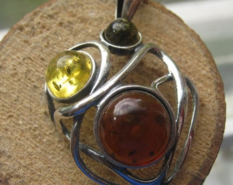 Vintage Sterling Silver Ladies Amber Pendant with Sterling Necklace Three Colors of Amber