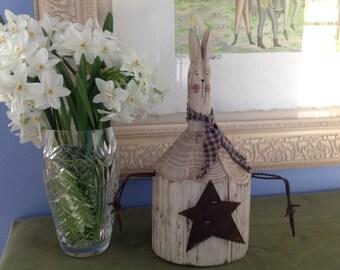 Folk art wood rabbit