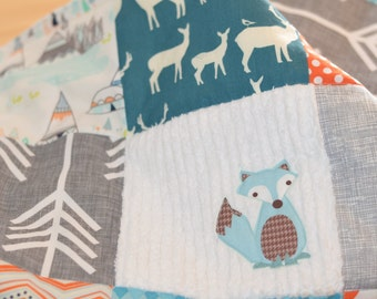 Sly Fox - Large Patchwork Baby Blanket / Quilt You Pick Colors, Fabrics