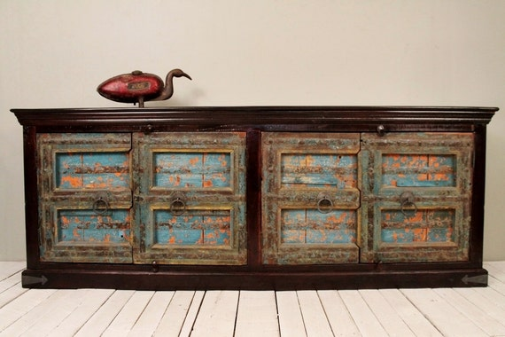 Sale antique indian door sideboard bright blue and orange long for Sideboard indien