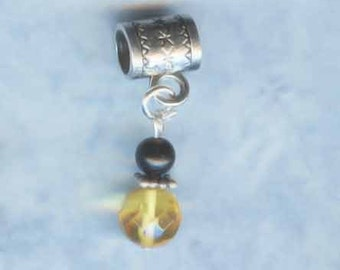 Sterling Amber & Jet Lr Hole Bead Fits All European Style Add a Bead Charm Bracelet Jewelry Pnd-Gm31
