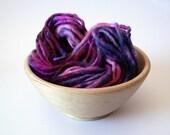 Handspun Superwash Merino Yarn Hand Dyed-Berry burst 30 yards Super Bulky Weight