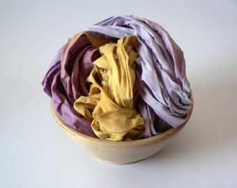 Sale Handpainted Upcycled Cotton Ribbon Yarn- Crocus 33 yards