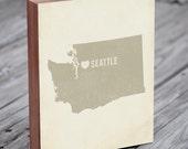Seattle Art Print - Seattle - Seattle Art - Seattle Washington - I Love Seattle - Wood Block Art Print