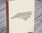 Charlotte NC - Charlotte Map - Charlotte, North Carolina - North Carolina Map - Wood Block Art Print