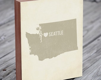 Seattle Art Print - Seattle - Seattle Art - Seattle Washington - I Love Seattle - Wood Block Art Print