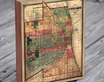 Vintage Chicago Map - 1875 Chicago Map - Wood Block Art Print