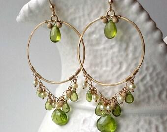 SALE Peridot Chandelier Earrings, Green Gold Chandelier, Hammered Gold Hoops, Boho Chandelier, August Birthstone:  15% Off, Ready to Ship