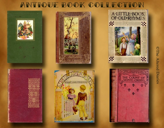 Antique Book Covers Collage Sheet,  Instant Download Printable, DIY