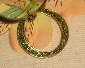 Stamped Lc Vintage Circle Necklace, Adorned with Olivine Rhinestones, Velvet Ribbon Chain