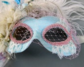 Marie Antoinette Mask-  pastel masquerade mask with veil