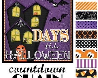 CLEARANCE Halloween Countdown Chain, Advent - Printable INSTANT Download