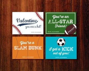 Valentine Printable Cards - sports  baseball  soccer  football  basketball