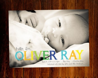 Boy Birth announcement - I design, you print DIY