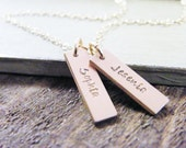 tiny gold name tags necklace personalized in 14kt gold fill two tags