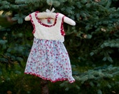 Cream, blue and red floral dress; little girl's size 18 mo.-2