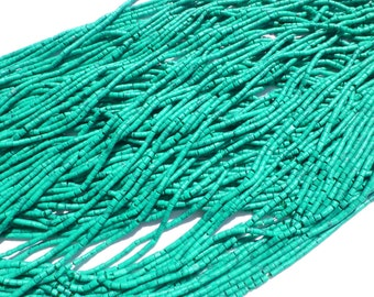 "MALACHITE beads. MaTTE Finish Heishi Beads. Reconstituted Malachite. SuPER SaTurated COlor. 14"" strand. 2 Strands. 2mm (H-Mal100-2)"