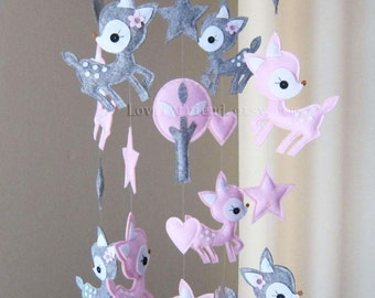 "Baby Mobile - Nursery Mobile - Long Decorative Stars and Deer crib Mobile - ""Pink Deer Love Pink Stars"" Mobile  (Custom Color Available)"