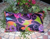 Bolster Accent Pillow, Neck Pillow, Decorator Fabric, Vibrant Multi-Color, 10 x 18 inches