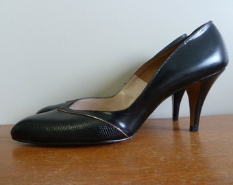 60s Black Leather Heels - Gold Trim - Unworn Shoes Pumps - Ray Ehinger - Vintage 1960s - 11.5 11 1/2 S