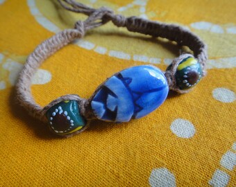 Blue Scarab Beetle African Trade Bead Hemp Bracelet / Anklet Ancient Egyptian Afrocentric Hippie Jewelry for Him