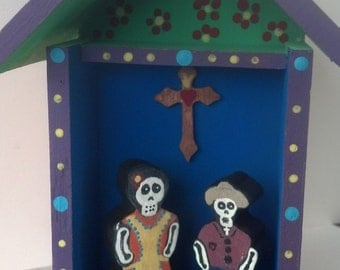 Day of the Dead couple at home Nicho Shrine