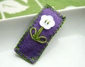 Abby - Felt snap clip hair clip with flower button