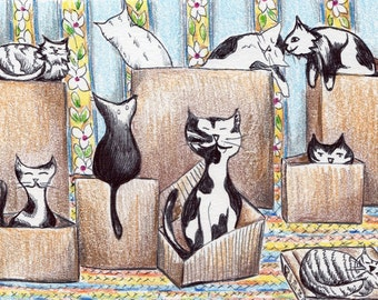 Cats Pen and Ink Drawing - Cat in a box - Hand Drawn - Color Pencil - Cat Art - 4x6 Mini Art - Nursery Decor - Cats <3 Boxes