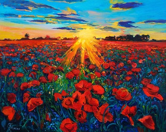 Original oil Painting on Canvas-Red Poppies-Modern Landscape Painting-Original Fine Art Contemporary by Ivailo Nikolov-SIZE: 20'' x24''