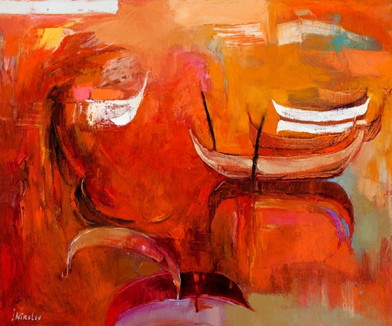 Orange fog-Original Abstract Art Painting Expressionist Contemporary Art 24x20 in, OIl on Canvas by Ivailo Nikolov