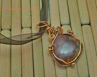 Elegant Wire-wrapped Amethyst Agate Pendant