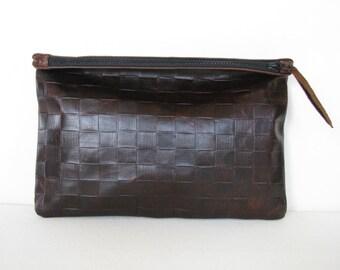 Clutch Bag / Cosmetic Bag / Hand Bag/ ipad case / sleeve---Brown Basket Weave Embossed/ Tooled Leather