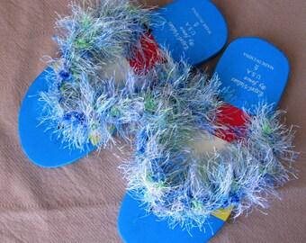 Girls Colorful Fancy Blue Flip-Flops, Fun Fur Flip-Flops, Party Flip Flops, Blue Flip Flops
