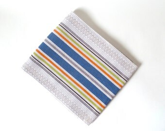 Vintage Like-New Scandinavian Striped Tablecloth … Off White with Blue, Orange, Chartreuse, Danish Textile, Woven Table Cloth, Blanket, Bed