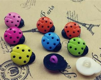 LadyBugs Multicolor Plastic Buttons/ Sewing supplies / DIY craft supplies / Novelty Buttons / Party Supplies / Kids craft Supplies