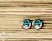 Turquoise owls earrings ear studs - cute owl, handmade jewelry from resin, forest, rustic, brown, yellow, gifts idea for her - made to order