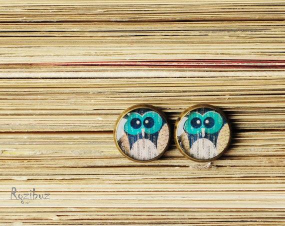 Owl ear studs - cute owl ear studs, resin earrings studs, green owl ear studs, turquoise owl earrings studs, owl ear studs - ready to ship
