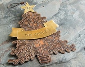 Personalized Christmas Ornament, 2016 Dated Tree Ornament, Family Gift, Etched Christmas Tree, Brass Banner and Star