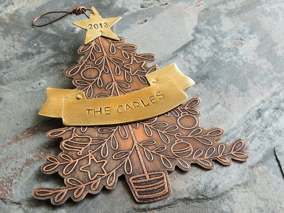 Personalized christmas ornament 2016 dated tree by for Custom christmas tree ornaments