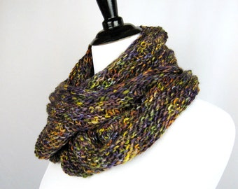 Cowl, Infinity Scarf, Hand Knit, Wool Rayon Acrylic Yarn, Deep Purple Gold Rust Fall Colors, Warm, Oversize, Cuddly, Cozy Wrap, Winter Wear