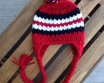 Wisconsin Badgers Crochet Hat with Earflaps and Braids