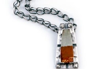 Jasper Pendant | Arts and Crafts Mission Style | Silver Chain Necklace