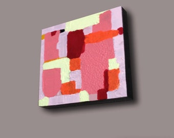 "SALE - Abstract Acrylic Painting Original Fine Art 6""x6"" by Linnea Heide - bauhaus - red - pink - yellow - orange"