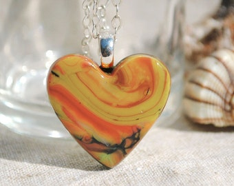Small Heart Pendant, Fused Glass Jewelry - Hidden Earth Series, Rustic, Woodland, Boho - Beige, Yellow, Orange, Green, Black (Item 10650-P)