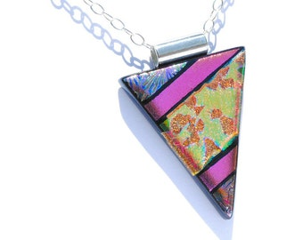 Dichroic Glass Pendant LARGE, Fused Glass Jewelry, Bold Design, Geometric, OOAK - Bright Colors including Orange, Gold, Pink (Item #10676-P)