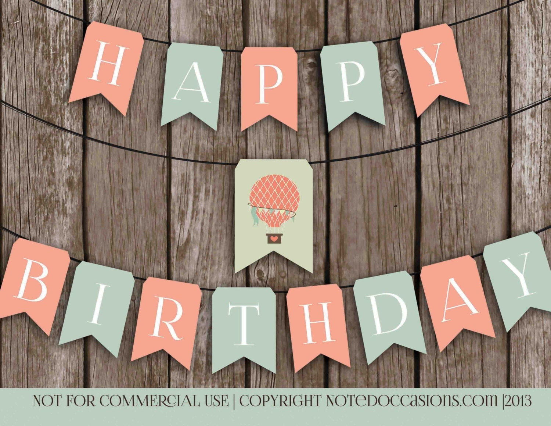 Printable Vintage Birthday Banner ~ Printable happy birthday banner vintage hot air by